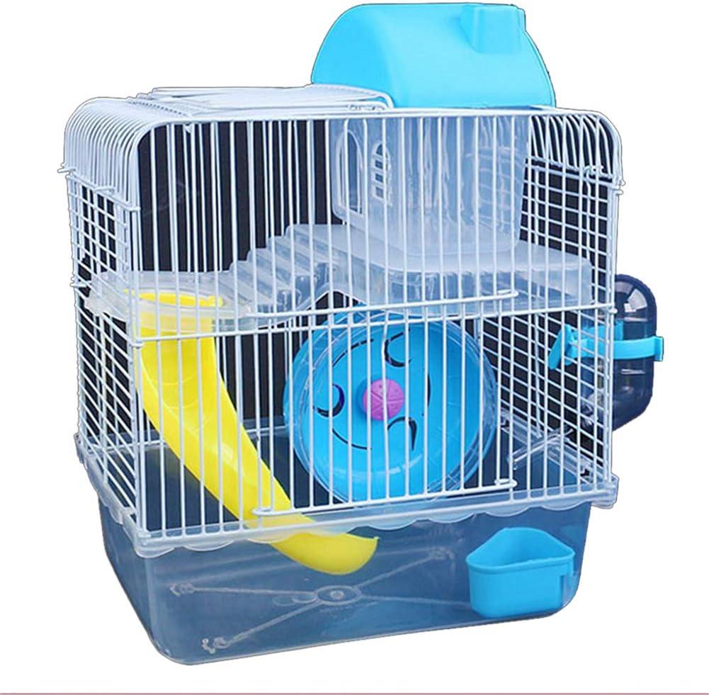 Alician - Jaula de alambre de hierro de doble capa con cuenco de alimentación, rueda deslizante, juguete para mascotas hámster decoración del hogar