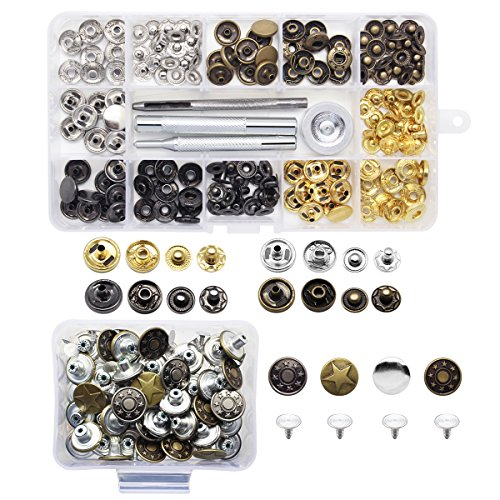 Yotako 40x 12mm Jeans Button Tack Buttons Metal Replacement Kit + 40x 12mm Metal No Sewing Popper Button Snap Fasteners Kit For Leather Clothing Wallet (Button Replacement Kit)
