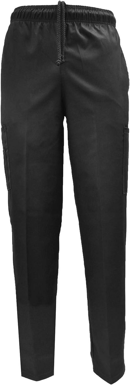 Natural Uniforms Classic Baggy 6 Pocket Black Chef Pants Kitchen Work Uniform