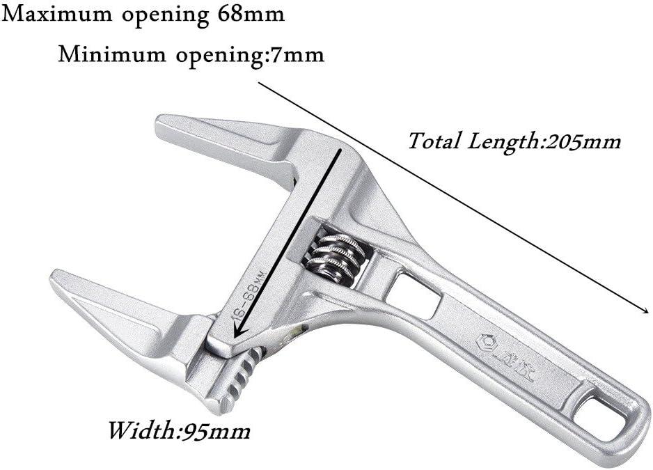 con apertura de mand/íbula 200 mm de largo 20 mm Famyfamy llave de carraca flexible para tuber/ías Llave inglesa ajustable doble prop/ósito accesorio de herramienta manual