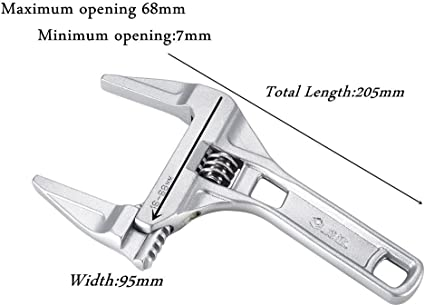 """2x 8/"""" Mini Small Adjustable Spanner Wrench Large Opening 0.3/""""-2.7/"""" 8-68mm"""