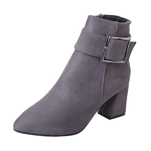 Gusspower Zapatos Martin Botas Forro Polar,Botines tacón Ancho para Mujer Moda Zapatos Piel Bajos Botas con Hebilla Otoño Invierno: Amazon.es: Zapatos y ...