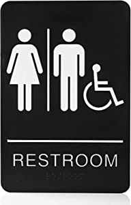 "Bebarley Self-Stick ADA Braille Unisex Restroom Signs-Bathroom Signs with Double Sided 3M Tape for Office or Business Bathroom and Toilet Door or Wall Decor 9""X6"""