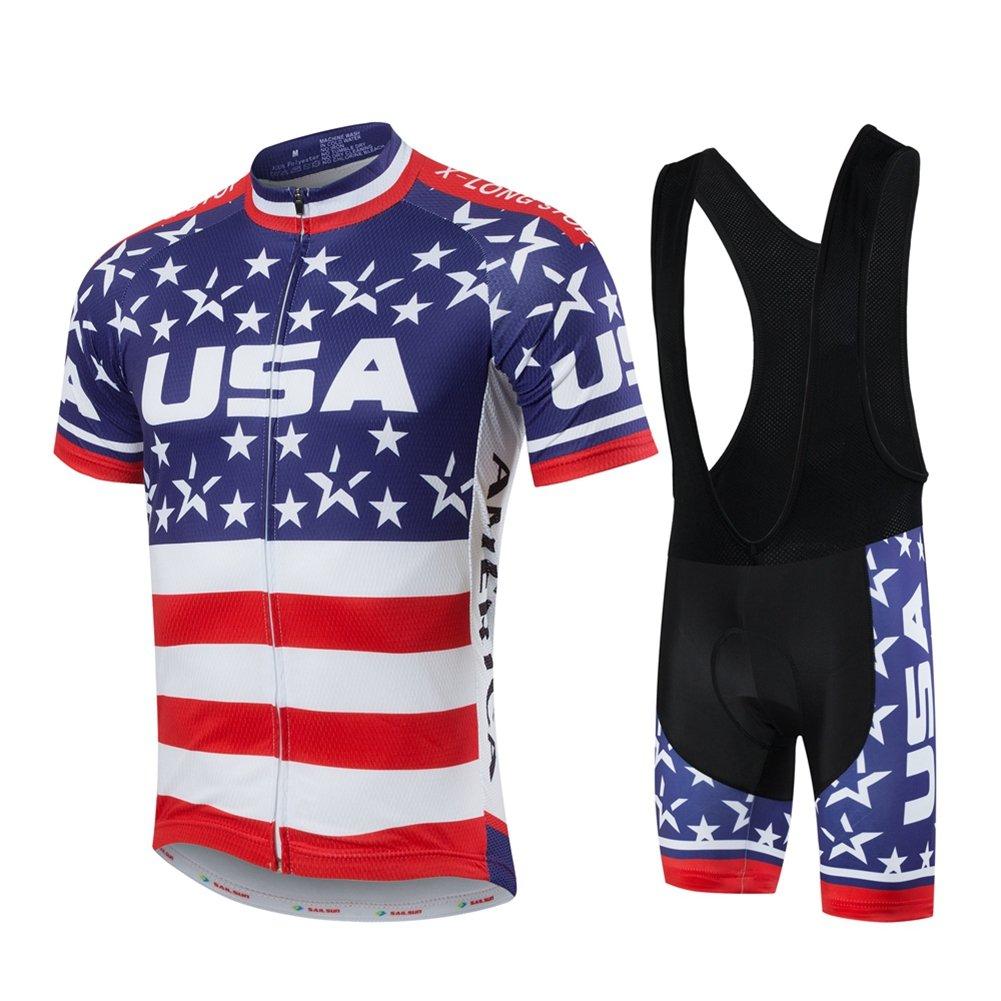 Xinzechen Short Sleeve Cycling Jersey and 3D Padded Bib Shorts Set USA Flag Black Size L by Xinzechen