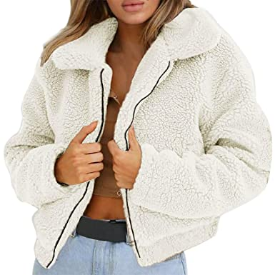 a95b2e2b984 Sixcup Women Warm Cardigan Fluffy Coat Faux Fur Winter Fleece Hooded Sherpa  Jacket Fuzzy Outerwear Reversible  Amazon.co.uk  Clothing