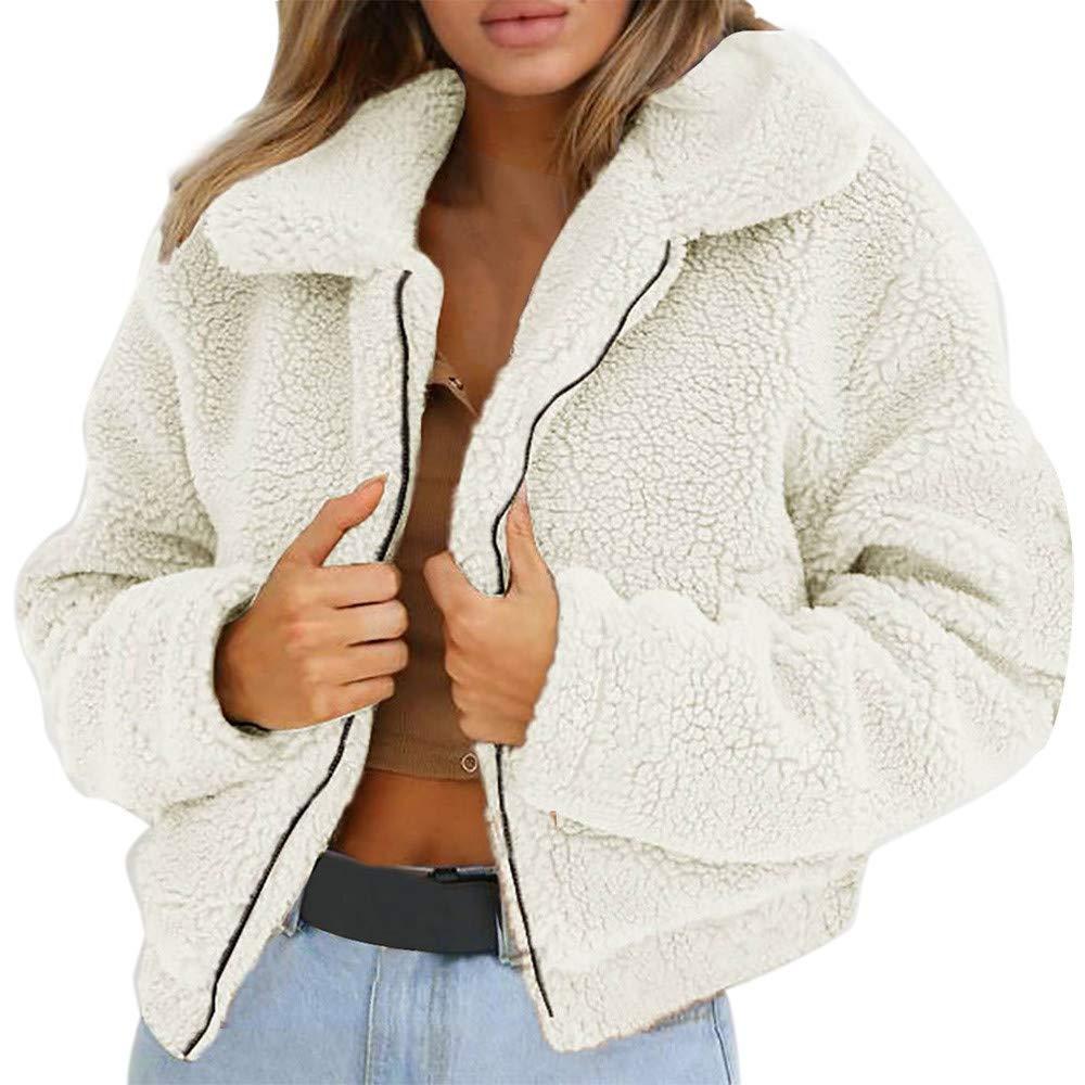 Women Coat, Hattfart Casual Zipper Fleece Fuzzy Faux Shearling Zipper Warm Winter Oversized Outwear Jackets (Beige, M)