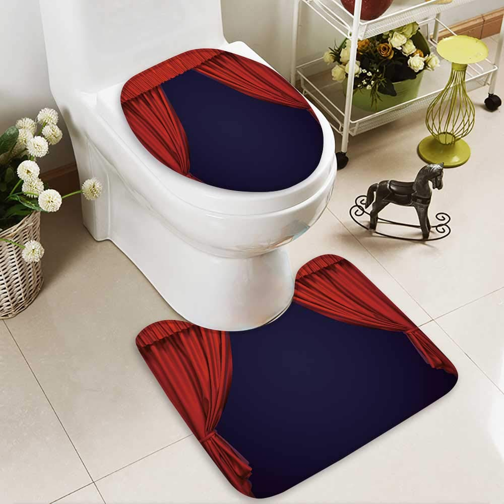 aolankaili 2 Piece Toilet lid cover mat set Theater curtain Presentation Movies Washable Non-Slip