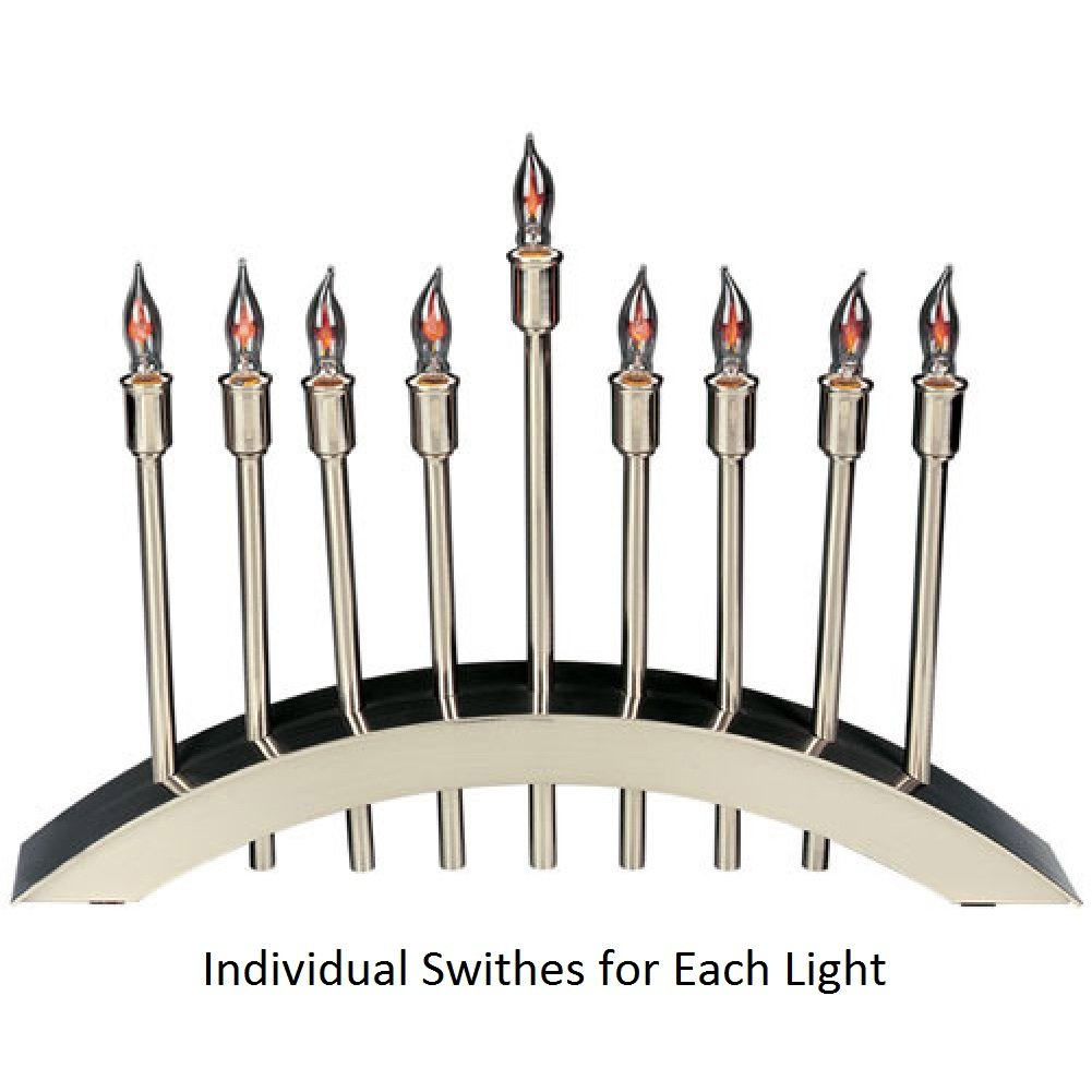 Electric Hanukkah Menorah - ''Arch of Freedom'' Design, Brushed Nickel Plated, Large Size 18'' x 11'' by Aviv