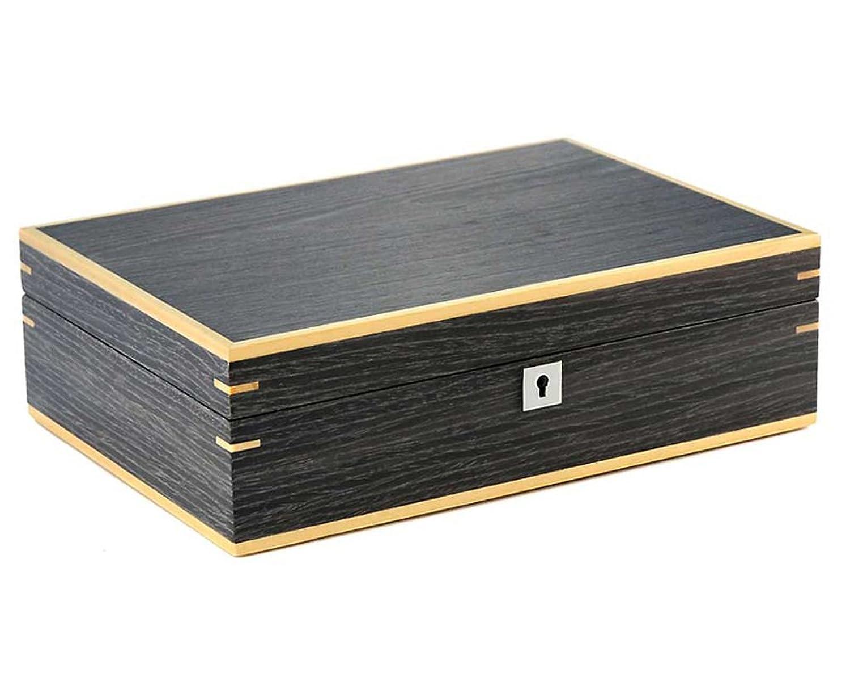 Uhrenkasten Aufbewahrungsbox fÜr 10 Uhren aus Holz bicolor Finish Nussbaum dunkel
