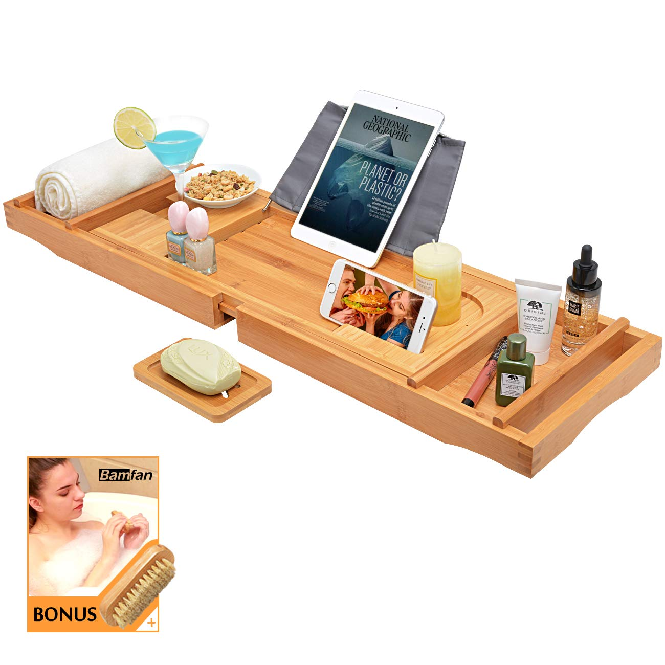 Bath Caddy Tray for Bathtub - Bamboo Adjustable Organizer Tray for Bathroom with Free Soap Dish Suitable for Luxury Spa or Reading