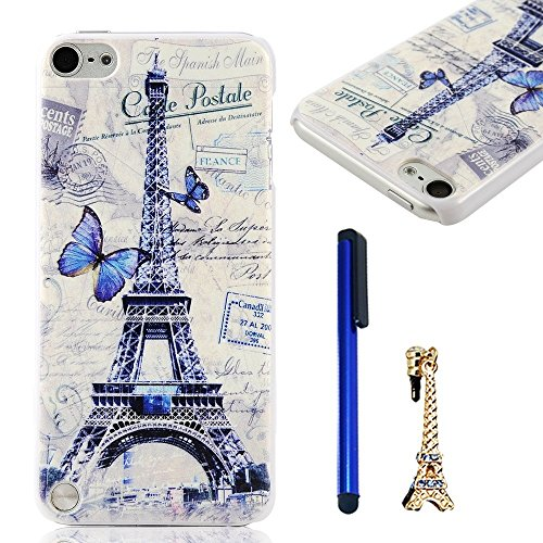 iPod Case iPod Touch 5 Case MOLLYCOOCLE PC Cover White Phone Back Skin Shell with Blue Butterfly and Eiffel Tower Pattern for iPod Touch 5 + 1x Stylus Pen + 1x Eiffel Tower Shaped Anti-dust Plug (Ipod Touch 5 Flip Cases For Girls)