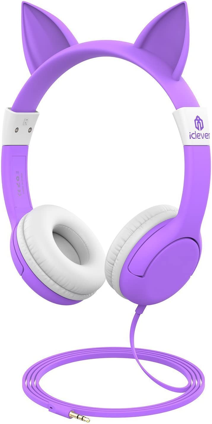Auriculares para niños, iClever Volumen Limitado Cascos para niños sobre el oído Auriculares para bebés con diseño estéreo Ajustable Cat para Phone Tablets PC MP3 (púrpura)
