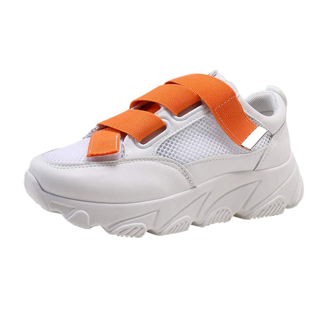 Women Walking Shoes Mesh Lightweight Casual Sports Slip on Gym Jogging Tennis Running Sneakers (US:5.5, Orange)