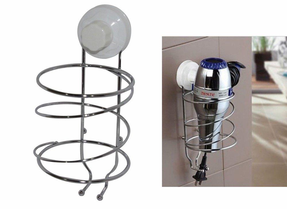 Vetrineinrete/® Porta phon da parete in acciaio con ventosa supporto per asciugacapelli fissaggio senza fori e viti 58905 E2