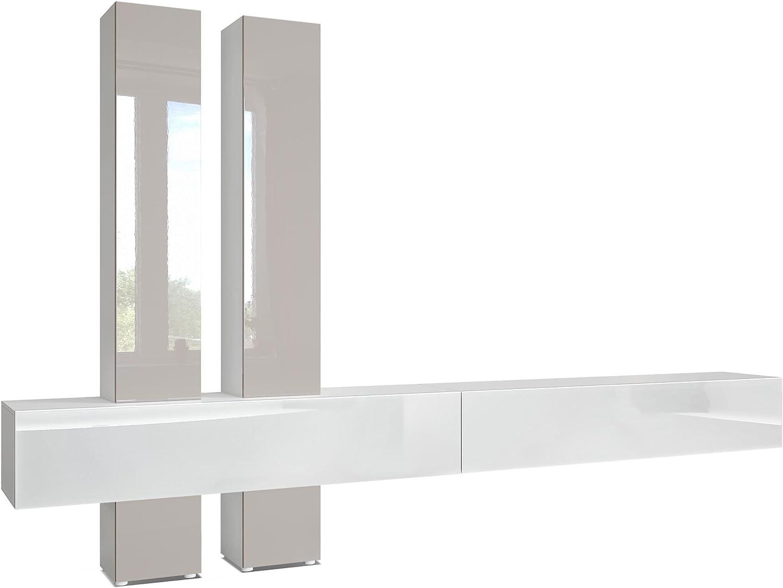 Mueble de Pared Moja, Cuerpo en Blanco Mate/frentes en Blanco de Alto Brillo y con Apariencia de óxido de hormigón: Vladon: Amazon.es: Hogar