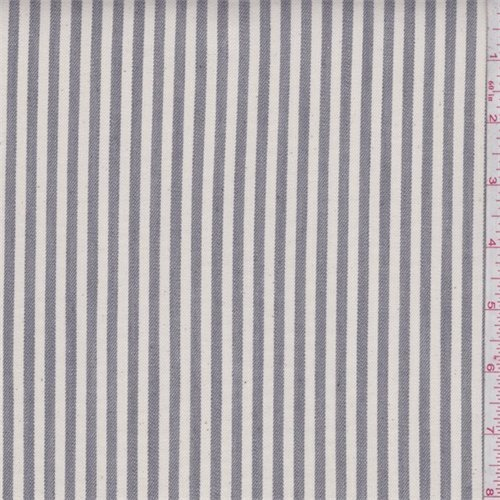 Cream/Grey Stripe Medium Weight Stretch Denim, Fabric By the Yard (Stripe Fabric Denim)