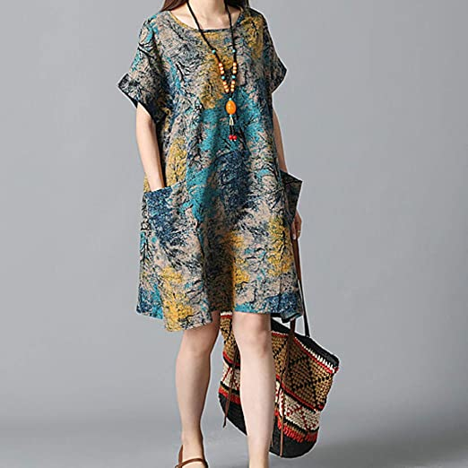 Linen Dresses For Womens O-Neck Short Sleeve Cotton And Linen Loose Printing Dress For Anniversary,Party,Valentines Day Blue,XXXL
