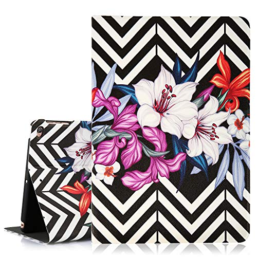 Hepix Floral iPad Air 2 Case Lily Flowers iPad 6th Generation Case,Body Wave Stripes iPad 9.7 Case, PU Taiga Leather Multi-Angles Stand Lightweight Protective iPad Cover with Auto Sleep Wake Function