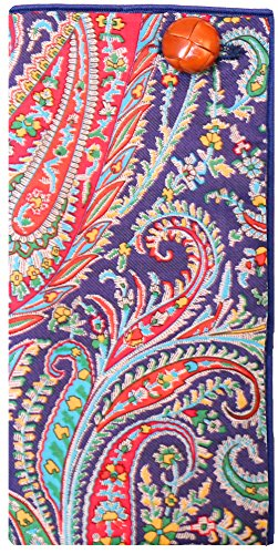Blue Paisley Print w/ Leather Button Men's Pocket Square by The Detailed Male by The Detailed Male (Image #2)