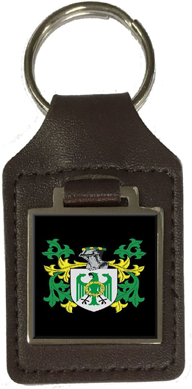 Searcey Family Crest Surname Coat Of Arms Brown Leather Keyring Engraved