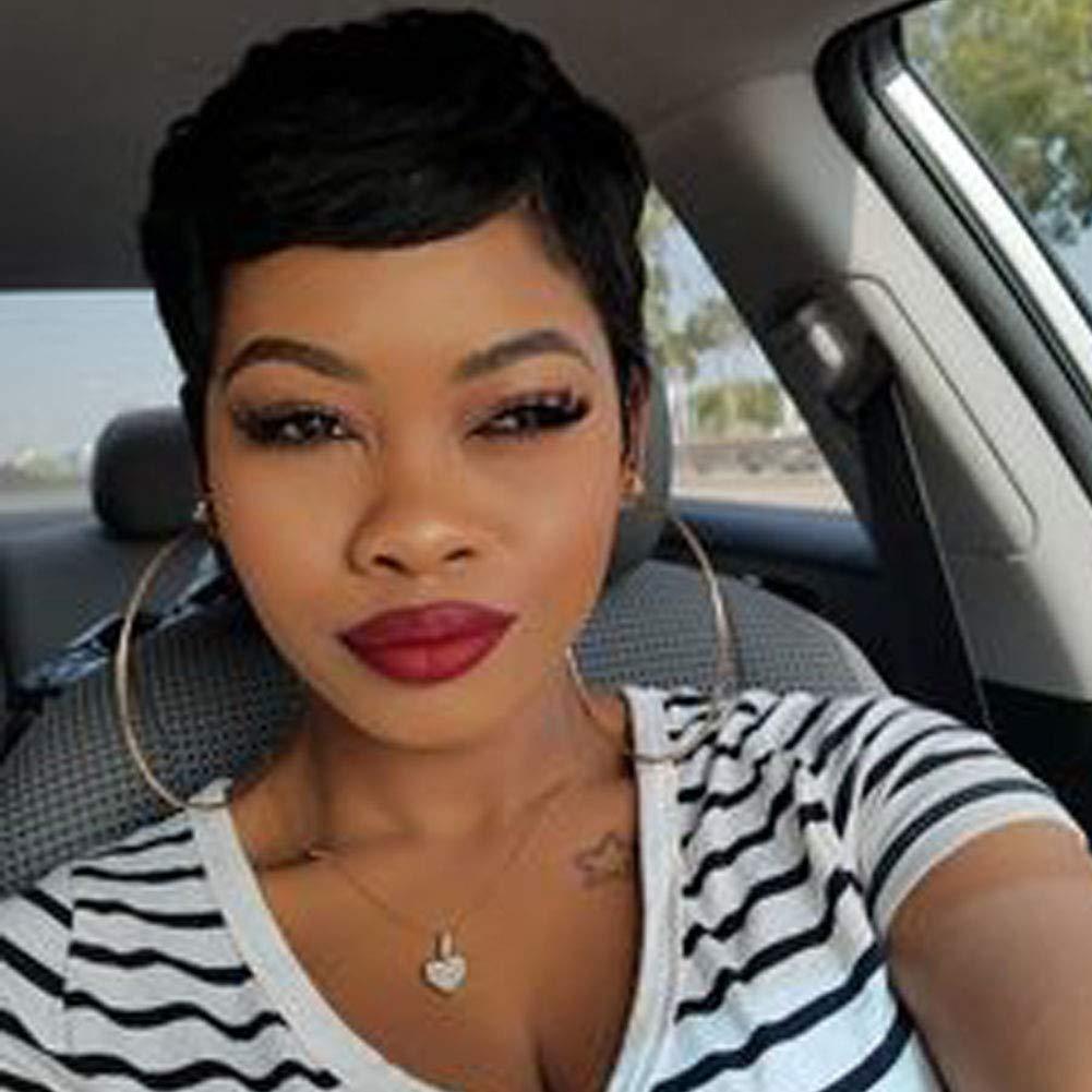 Evasens Short Human Hair Black Pixie Cut Wigs for Women Straight ...