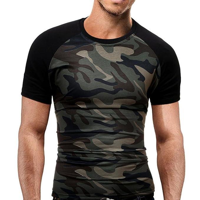 Camiseta Hombre,Longra ☆ Camuflaje Impresión tee Cuello Redondo Tops Camisa Manga Corta Ropa Hombre