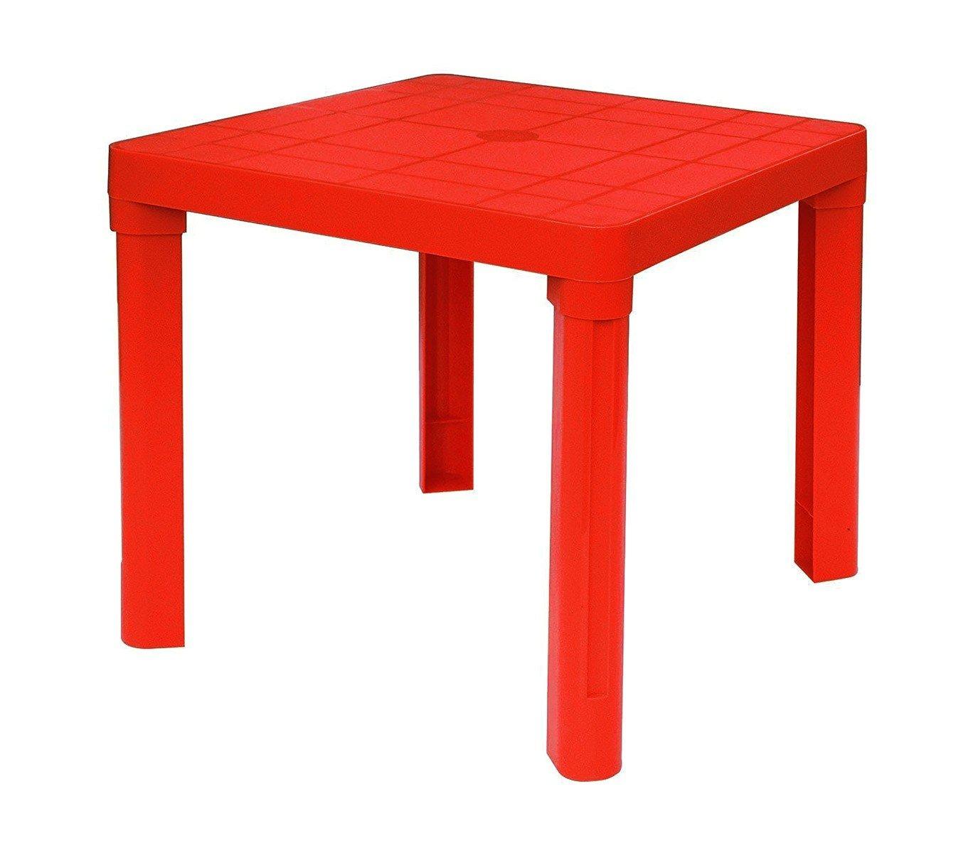 MEDIA WAVE store Tavolo per bambini in plastica 50x50 cm smontabile in plastica rigida di Colore ROSSO. 240335