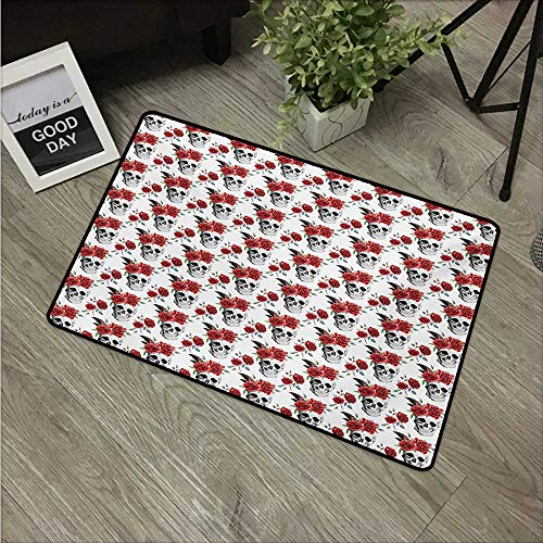 Anzhutwelve Rose,Doormats Watercolor Art Style Skull with Red Roses and Buds Gothic Halloween Pattern W 16