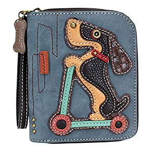 Chala Zip Around Wallet, Wristlet, 8 Credit Card Slots, Sturdy Pu Leather - Scooter Dog - Indigo