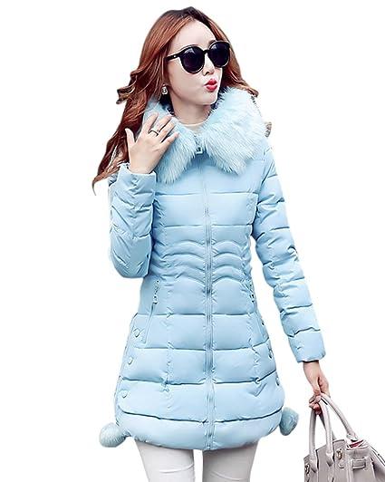 31fa06bbdab54 MISSMAO Inverno Lungo Giacca Spessore Sottile Cappotto Imbottito Con  Pelliccia Ecologica Cappuccio per Donna Blu 2XL