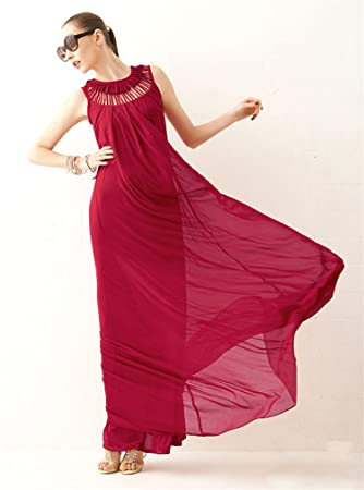 7232ea5d53 Goddess Hollow Sleeveless Summer Beach Chiffon Party Cocktail Long Maxi  Dress (Red)  Amazon.co.uk  Health   Personal Care