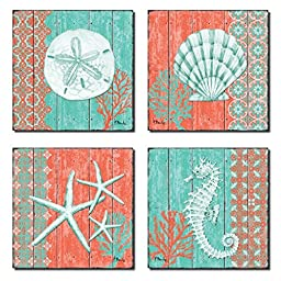 4 Lovely Teal and Coral Ocean Seashell Sand Dollar Seahorse Star Fish Collage Poster Prints; Nautical Decor; Four 8x8in Poster Prints