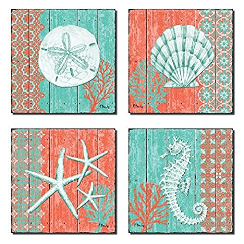 4 Lovely Teal and Coral Ocean Seashell Sand Dollar Seahorse Star Fish Collage Poster Prints; Nautical Decor; Four 12x12in Poster - Seahorse Wall Decor