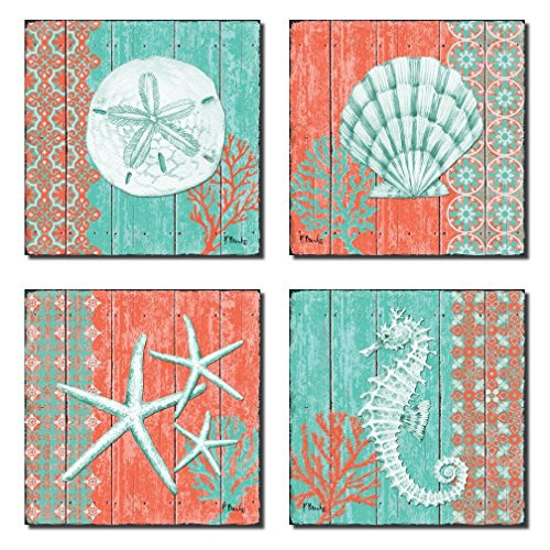 Coral Wall (4 Lovely Teal and Coral Ocean Seashell Sand Dollar Seahorse Star Fish Collage; Nautical Decor; Four 8x8 Inch Mounted Prints; Ready to hang!)
