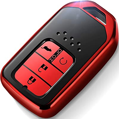 Intermerge for Honda Key Fob Cover,Special Soft TPU Key Case Protector Compatible with Honda Civic Accord CR-V HR-V Fit Odyssey JED Crosstour Crider Keyless Smart Key Cover (Red): Automotive [5Bkhe2001849]