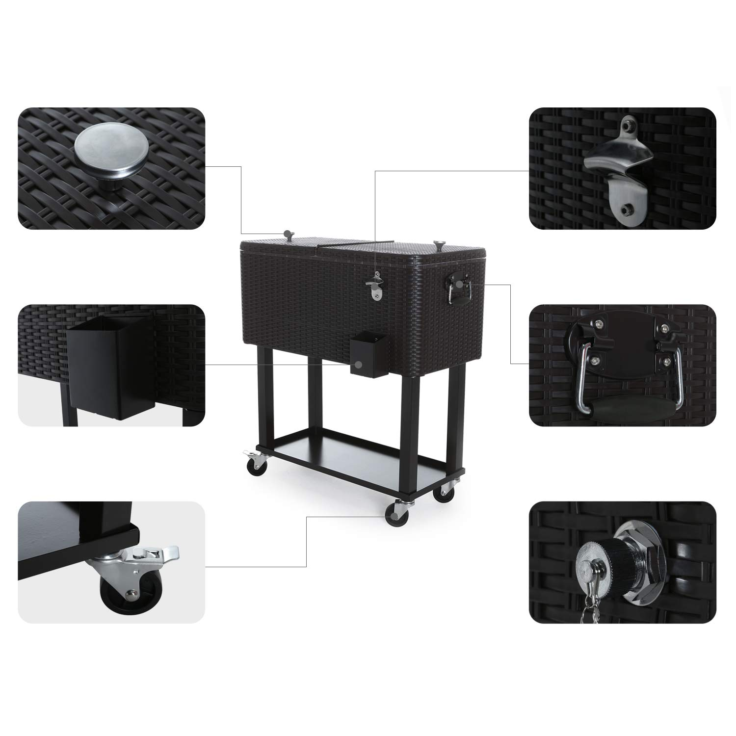 CAIDE-STORE with a Free Cover 80 Quart Outdoor Portable Cooler Patio Ice Chest Cooler Cart on Wheel by CAIDE-STORE (Image #7)