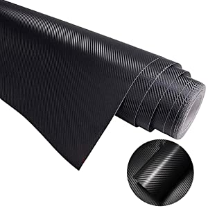COSMOSS Carbon Fiber Wrap Black Car Auto Vinyl Wrap Sticker Sheet Self-Adhesive Car Wrapping Paper Sticker Roll Tape 6D Glossy Auto Exterior Interior Hood Vehicle Bike Boat Gadget(30-inch X 57-inch)