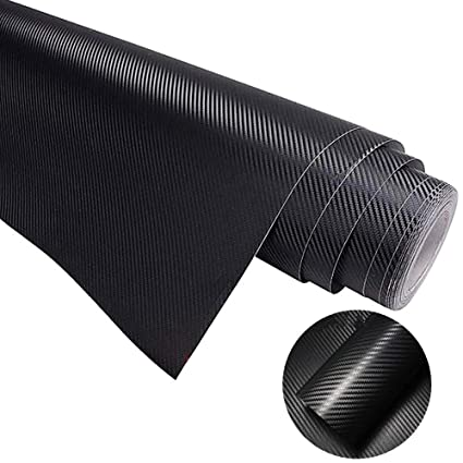 Carbon Fiber Wrap Black Car Auto Vinyl Wrap Sticker Sheet Self-Adhesive Car  Wrapping Paper Sticker Roll Tape 6D Glossy for Auto Exterior Interior Hood
