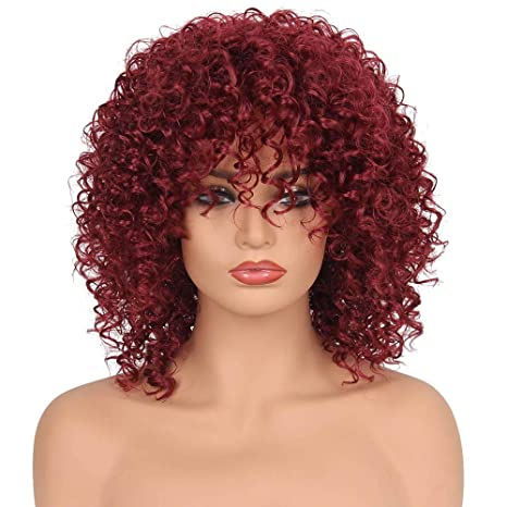 Amazon Com Sixpi Red Short Curly Kinky Wigs For Black Women Fluffy