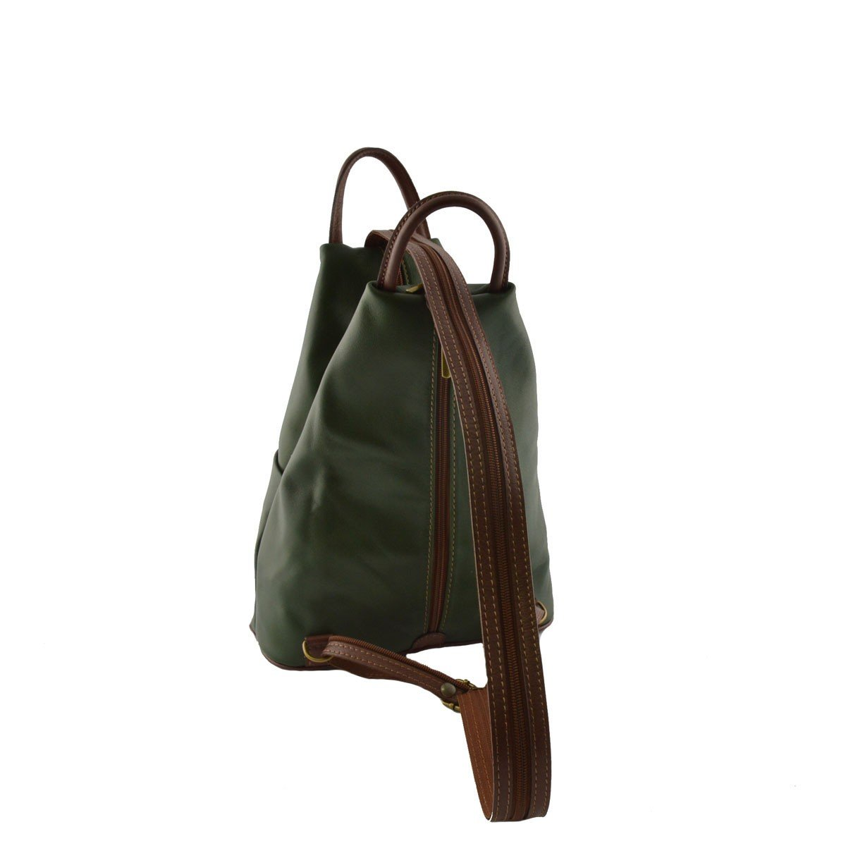 Woman Leather Backpack Color Green and Brown