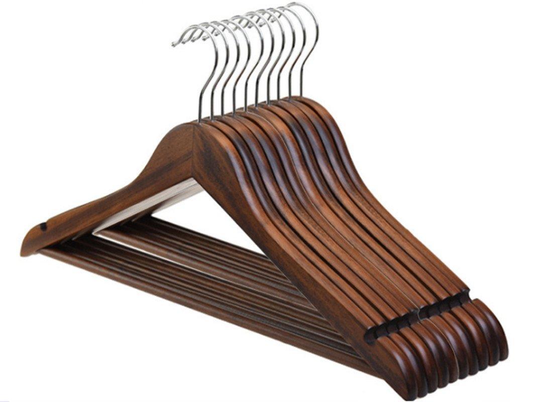 20個ウォールナット木製ブラウンハンガー服コートスーツドレスパンツスカートno slip B076C6Y9CG