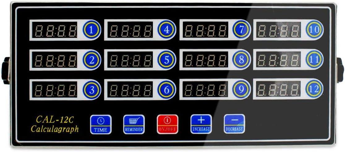 Li Bai Commercial Kitchen Timer Digital Alarm Clock Cooking Reminder Loud Adjustable 12 Channels Clear LED Display Stainless Steel for Restaurant Home Kitchen