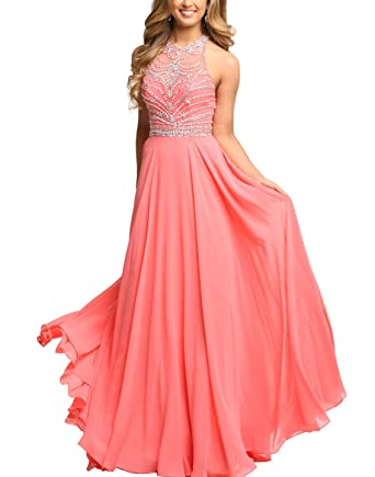DarlingU Womens Long Round Neck Beaded Prom Dresses Chiffon Open Back Evening Gowns Coral 2