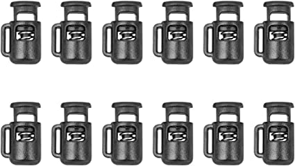 12pcs Mini Plastic Cord Lock Stopper Black