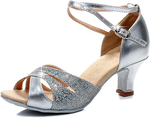SXSHUN Femmes Chaussures de Danse Latine Paillettes Sandale de Danse Ballet Samba Ballroom Tango F/ête Sociale