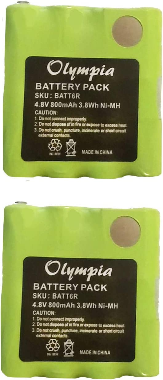 800mAh, 4.8V, NI-MH Replacement for Midland BATT-6R Two-Way Radio Battery 2 Pack Replacement Battery for Midland LXT330