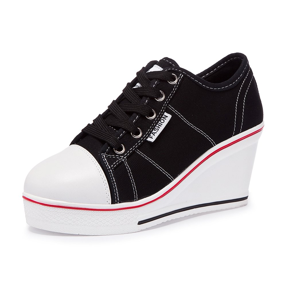 Black Sokaly Women's Canvas shoes Wedge Heeled Platform Sneaker Fashion Pump shoes