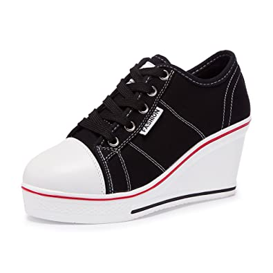 efccd9f536dc76 Zetiy Women Girls Canvas Shoes Wedge Heeled Trainers Platform Fashion  Sneaker Lace up Boots Sneakers Pump
