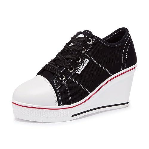 Zetiy - Zapatillas de Deporte de Lona Mujer, Negro (Negro), 39