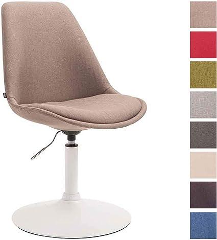 Esszimmerstuhl Maverick Stoff I höhenverstellbarer Lehnstuhl I Drehstuhl mit Trompetenfuß I Sitzhöhe von ca. 43 48 cm, Farbe:Taupe, Gestell Farbe:Weiß